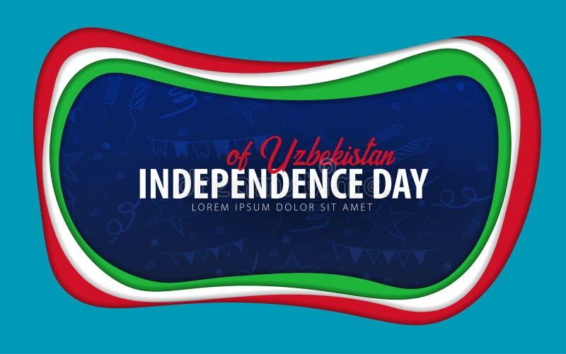 uzbekistan Carte de voeux de Jour de la Déclaration d'Indépendance style de coupe de papier illustration stock
