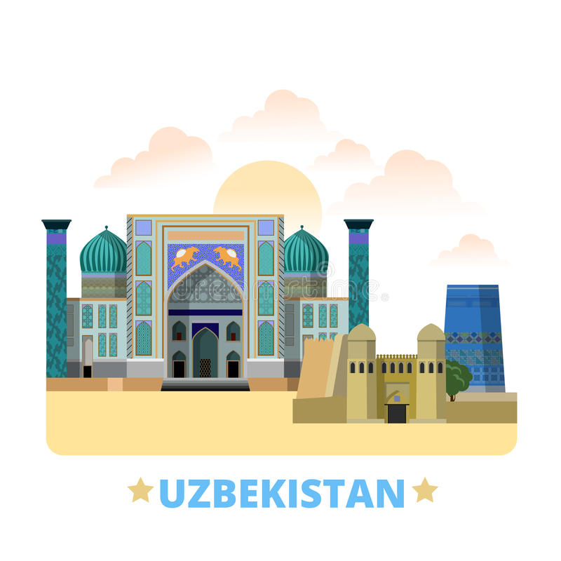 Uzbekistan country design template Flat cartoon st. Uzbekistan country flat cartoon style historic sight showplace web vector illustration. World vacation travel
