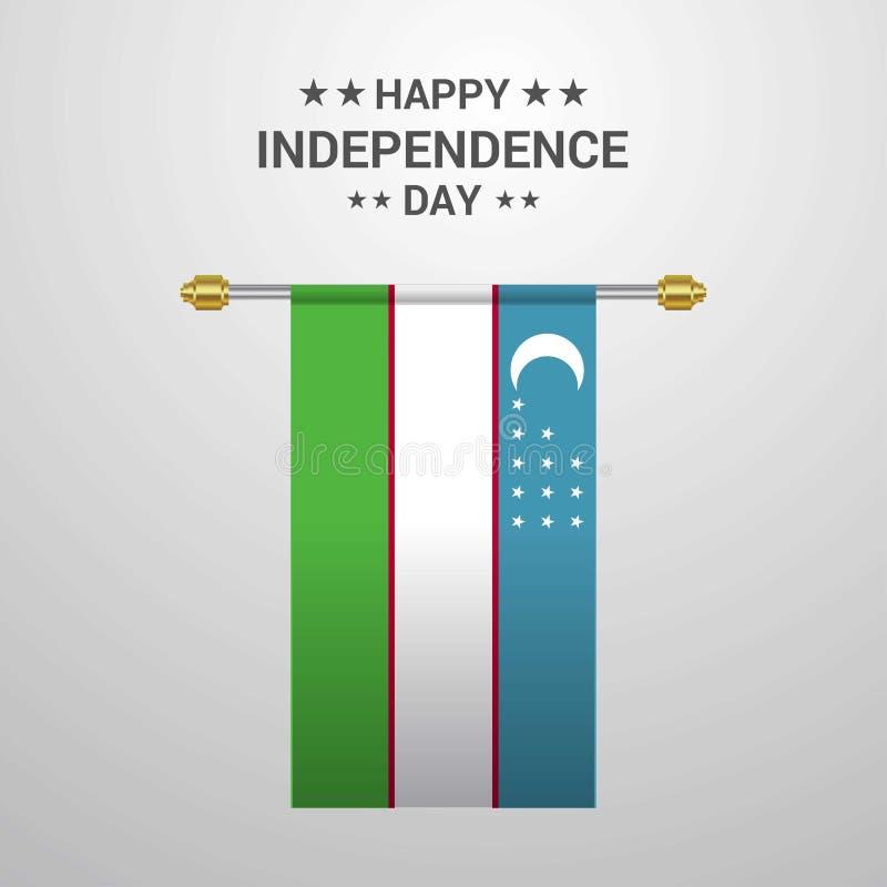Uzbekistan dnia niepodległości obwieszenia flagi tło ilustracja wektor