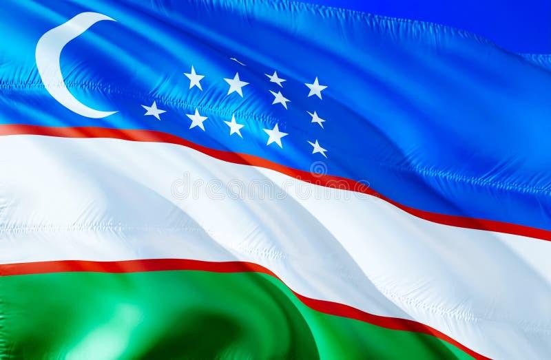 Uzbekistan flaga 3D falowania flaga projekt Krajowy symbol Uzbekistan, 3D rendering Obywatelów kolory i Krajowa CIS flaga royalty ilustracja