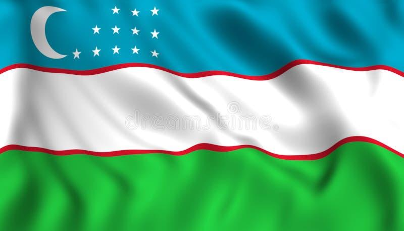 Uzbekistan flaga falowania symbol kraj Azja ilustracji