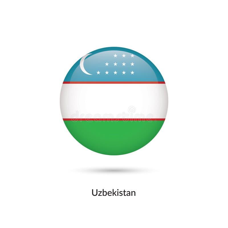 Uzbekistan flagga - rund glansig knapp stock illustrationer