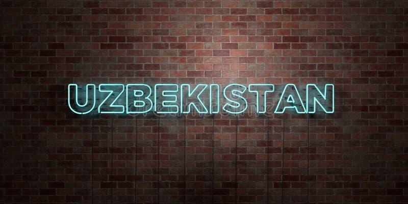 UZBEKISTAN - fluorescencyjny Neonowej tubki znak na brickwork - Frontowy widok - 3D odpłacający się królewskość bezpłatny akcyjny ilustracji