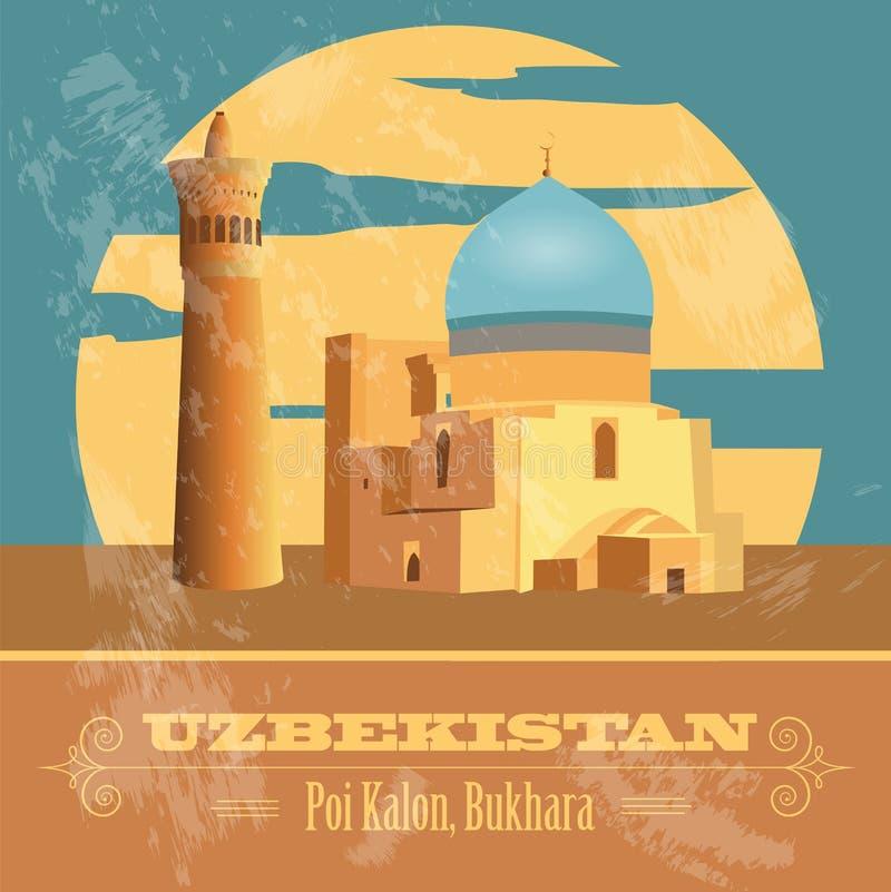 Uzbekistan gränsmärken Retro utformad bild stock illustrationer