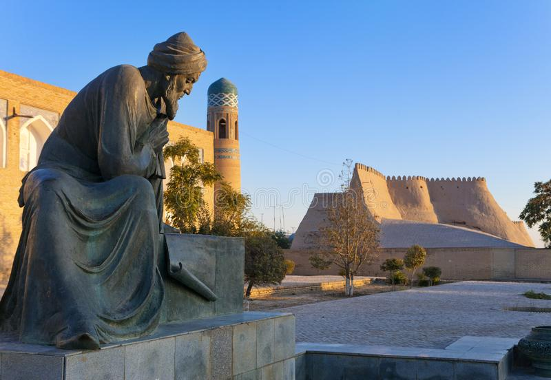 Uzbekistan. Khiva. Statue of Muhammad ibn Musa al-Khwarizmi - famous scientist born in Khiva in 783. The term algorithm still remi. Nds us of him because his stock photography