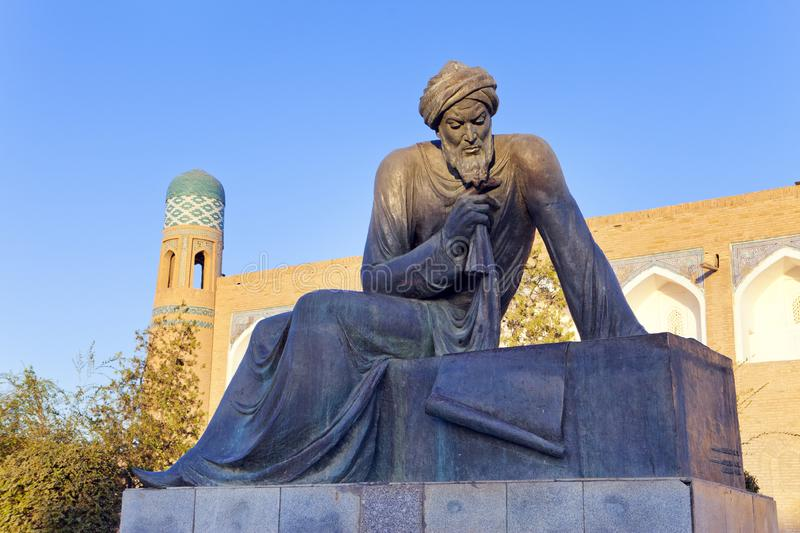 Uzbekistan. Khiva. Statue of Muhammad ibn Musa al-Khwarizmi - famous scientist born in Khiva in 783. The term algorithm still remi. Nds us of him because his stock images