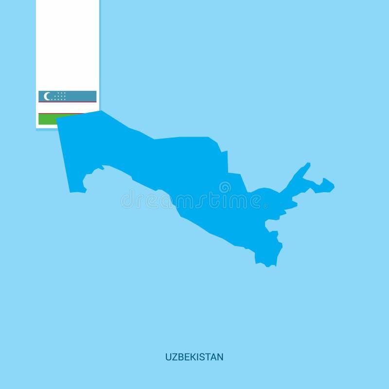 Uzbekistan kraju mapa z flagą nad Błękitnym tłem royalty ilustracja