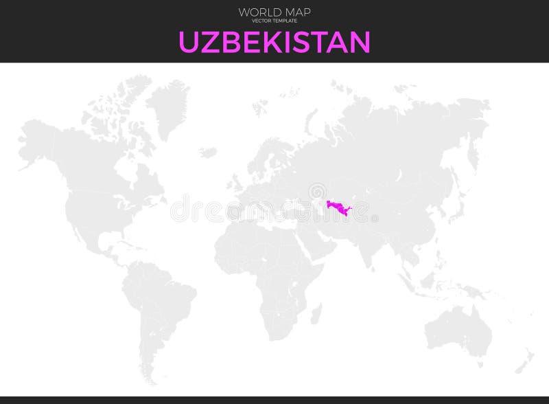 Uzbekistan lokaci mapa royalty ilustracja