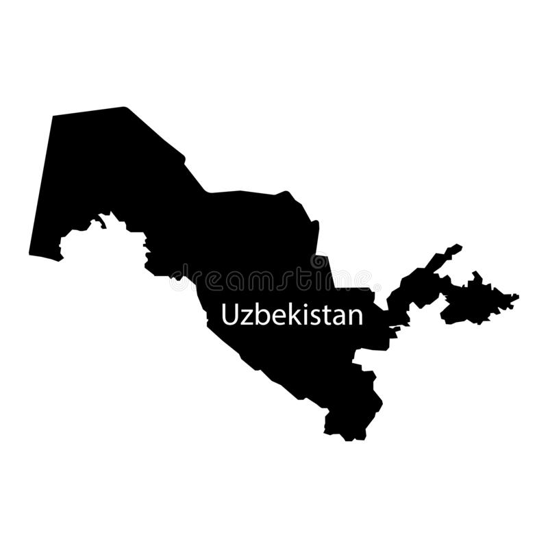 Uzbekistan map filled black sign. Eps ten stock illustration