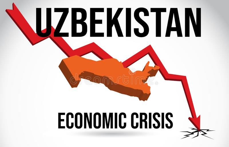 Uzbekistan Map Financial Crisis Economic Collapse Market Crash Global Meltdown Vector. Illustration royalty free illustration