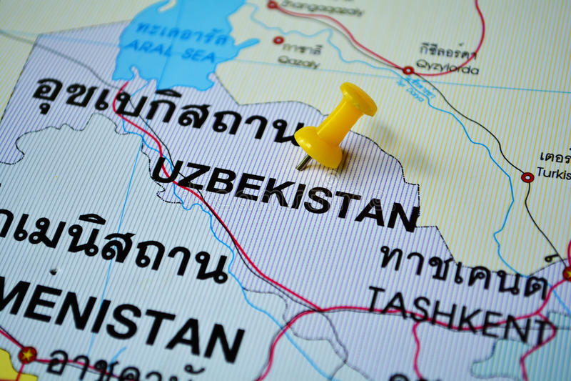 Uzbekistan map. Macro shot of uzbekistan map with push pin stock photo