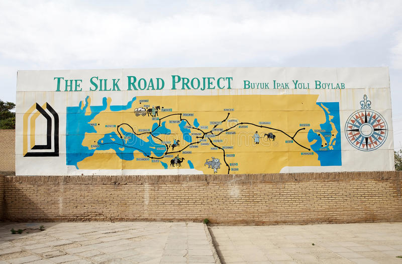 Uzbekistan. The map of the Silk Road at the Itchan Kala, Khiva, Uzbekistan. Itchan Kala is the walled inner town of the city of Khiva. Since 1990 it has been stock photos