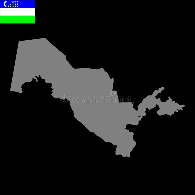 Uzbekistan map and tricolor flag sign. Eps ten royalty free illustration