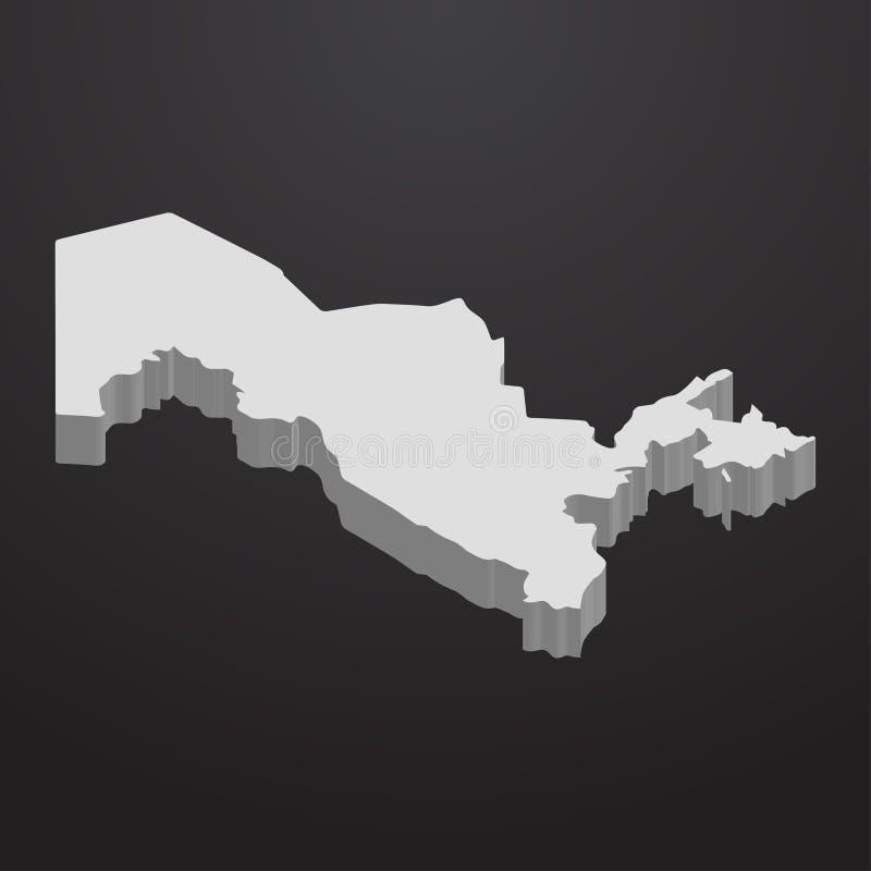 Uzbekistan mapa w szarość na czarnym tle 3d ilustracji