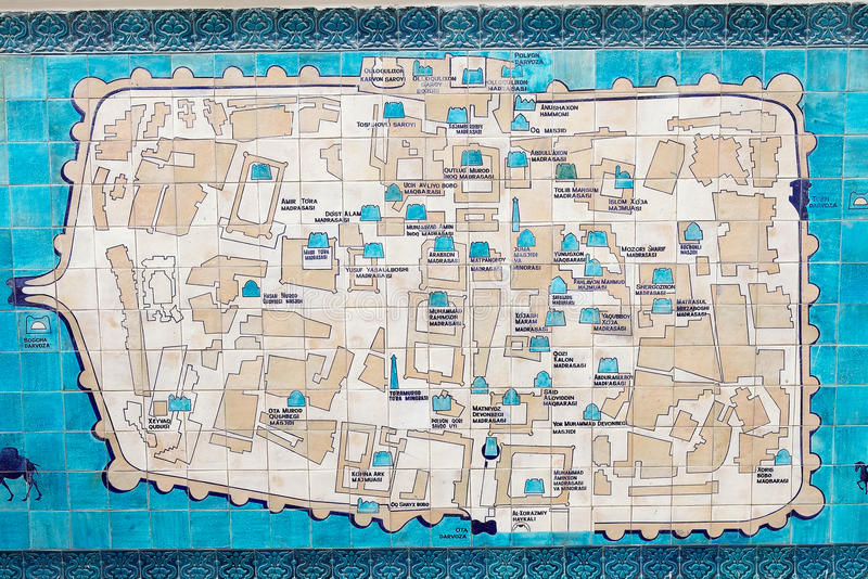 Uzbekistan. Mosaic of the map of Itchan Kala, Khiva, Uzbekistan, with the most important historic monuments. Itchan Kala is the walled inner town of the city of stock photo