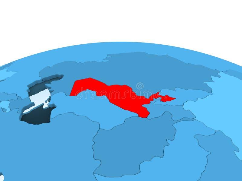 Uzbekistan na błękitnej politycznej kuli ziemskiej ilustracja wektor