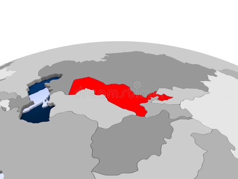 Uzbekistan na politycznej kuli ziemskiej royalty ilustracja