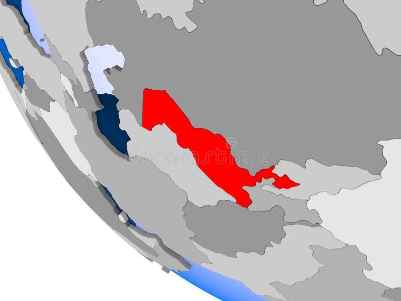 Uzbekistan na politycznej kuli ziemskiej ilustracja wektor