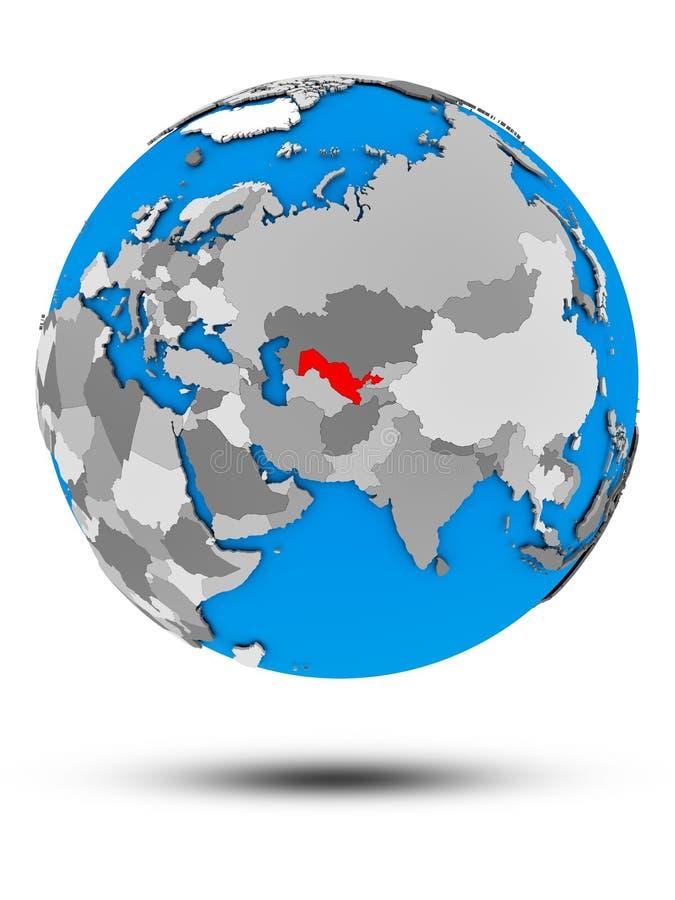 Uzbekistan na politycznej kuli ziemskiej odizolowywającej ilustracja wektor