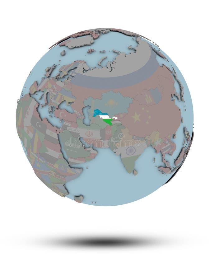 Uzbekistan na politycznej kuli ziemskiej odizolowywającej ilustracji