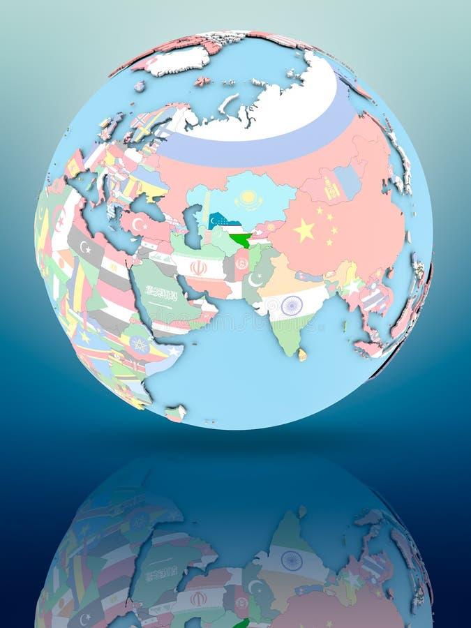 Uzbekistan na politycznej kuli ziemskiej z flaga ilustracja wektor