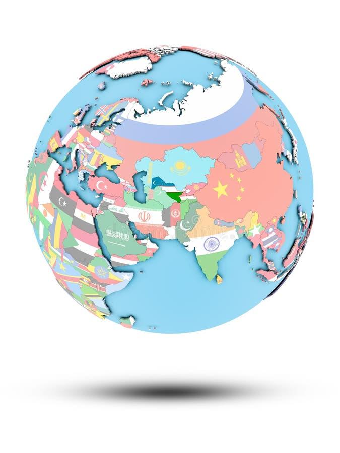 Uzbekistan na politycznej kuli ziemskiej z flaga royalty ilustracja