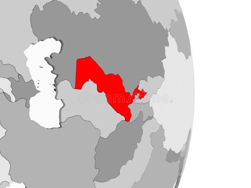 Uzbekistan na popielatej politycznej kuli ziemskiej royalty ilustracja