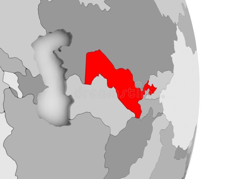 Uzbekistan na popielatej politycznej kuli ziemskiej ilustracja wektor