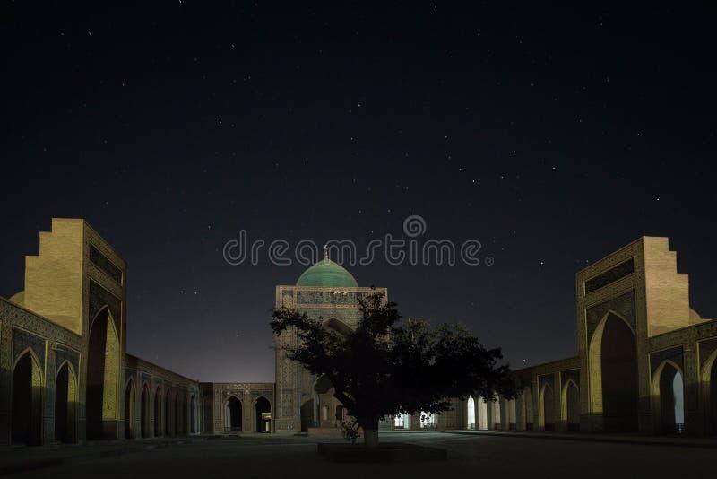 Uzbekistan. Night view of the complex of buildings of Poi Kalyan, Bukhara, Uzbekistan royalty free stock images