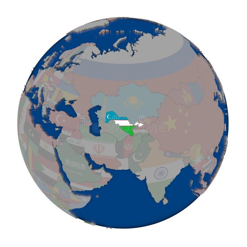 Uzbekistan on political globe. Uzbekistan with embedded national flag on political globe. 3D illustration isolated on white background stock illustration