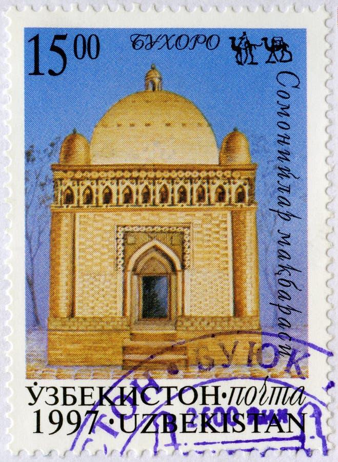UZBEKISTAN - 1997: przedstawienie Grobowcowa świątynia Ismail Samani Samanid mauzoleum w Bukhara, miejsca na Jedwabniczej drodze obrazy royalty free