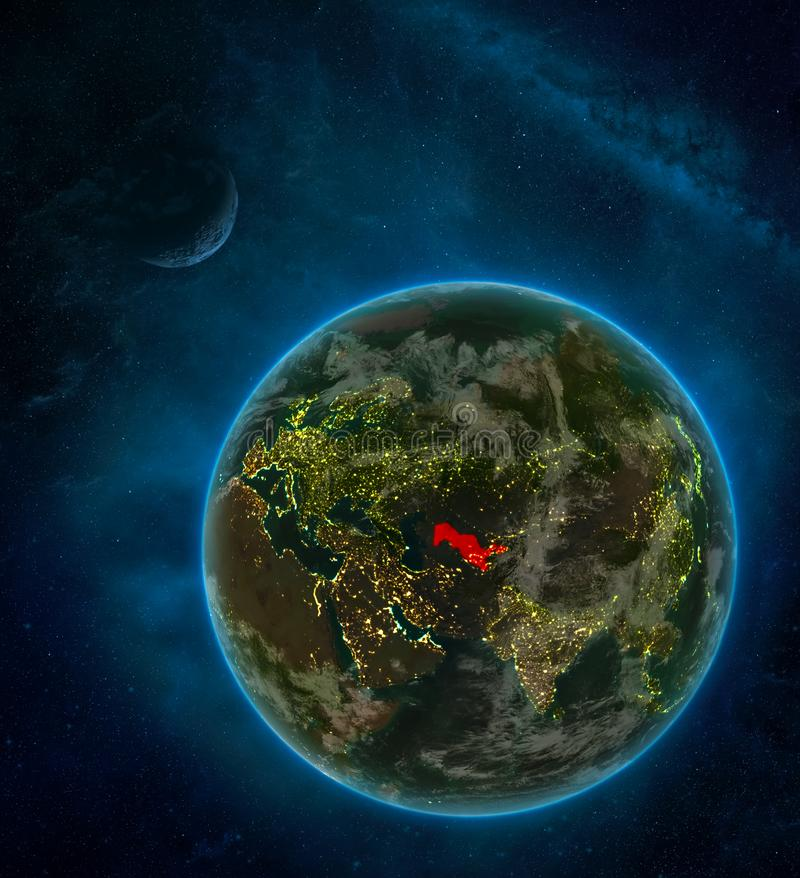 Uzbekistan from space on Earth at night surrounded by space with Moon and Milky Way. Detailed planet with city lights and clouds. 3D illustration. Elements of royalty free illustration