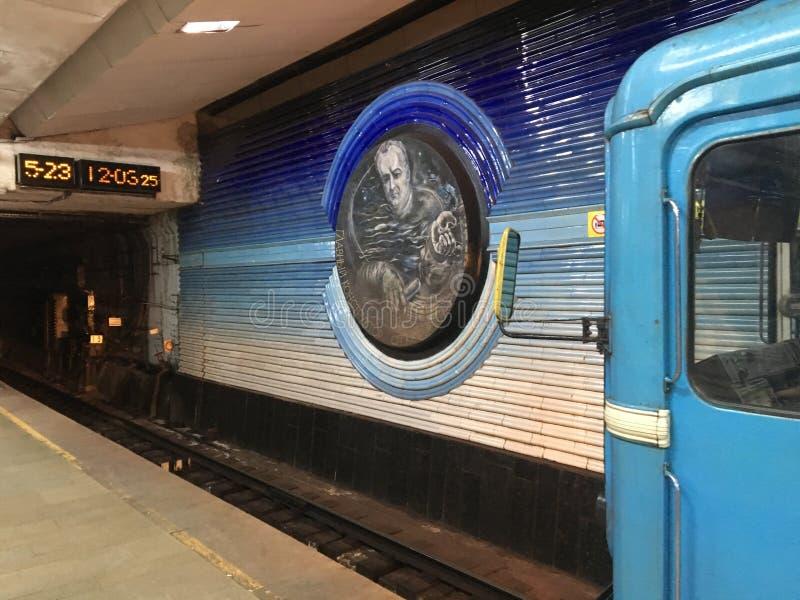 Uzbekistan, Tashkent, Kosmonavtlar metro, Czerwiec 2019 obrazy stock