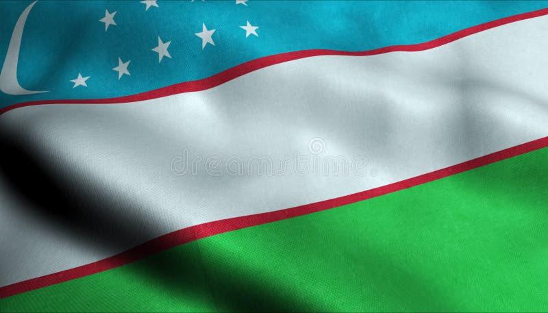Uzbekistan vinkande flagga i 3D vektor illustrationer