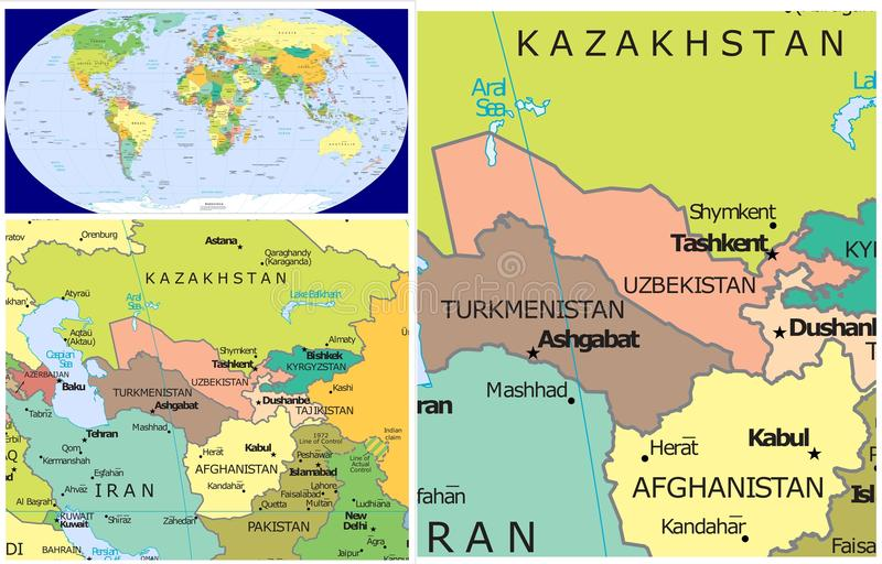 Uzbekistan & World stock illustration. Illustration of ...