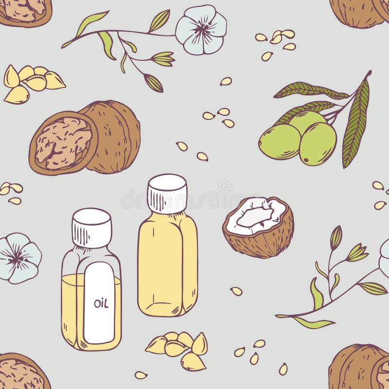 Uzdrawiać oleju bezszwowego wzór Zdrowy tło royalty ilustracja