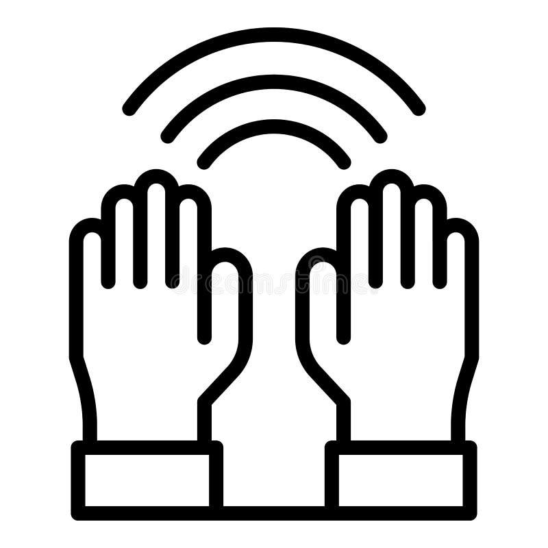 Uzdrawiający z ręki ikoną, konturu styl ilustracja wektor