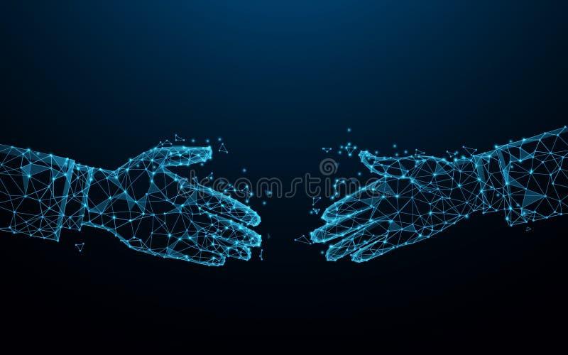 Uzgadnianie biznesowe z liniami, trójkątami i stylem cząstek Koncepcja partnerstwa i handlu ilustracji