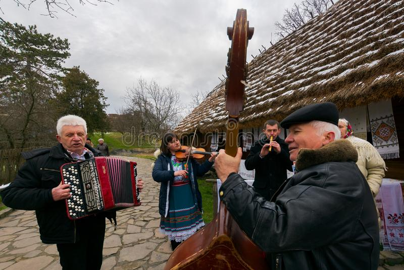 Uzhgorod Ukraina, Jan, - 13, 2018: Vasylya festiwalu odświętność w muzeum Ludowa architektura i życie  obraz royalty free