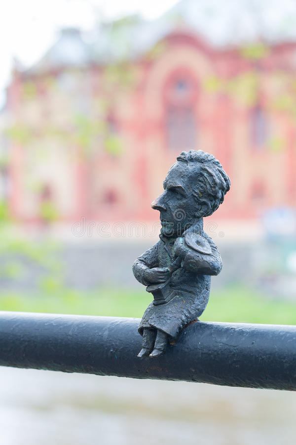 Uzhgorod, Ukraine, April 24, 2016: Mini sculpture of Bela Bartok. On the handrail of the bridge royalty free stock image