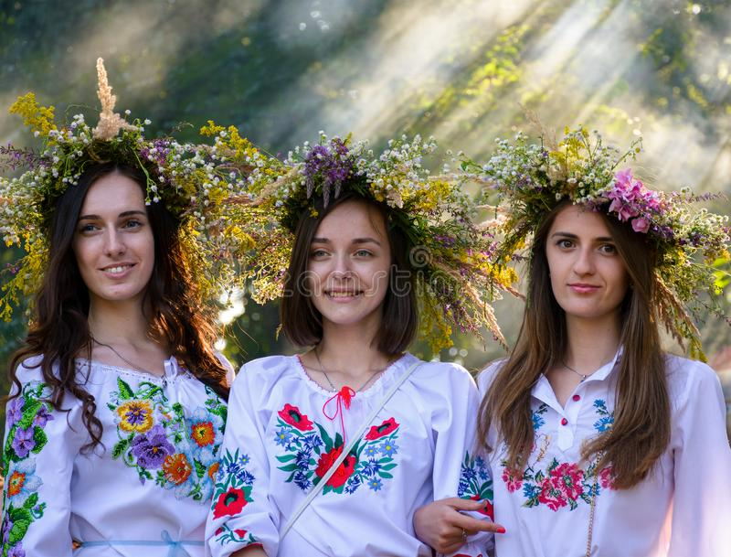 Portraits of three Young ladies with wreath royalty free stock images