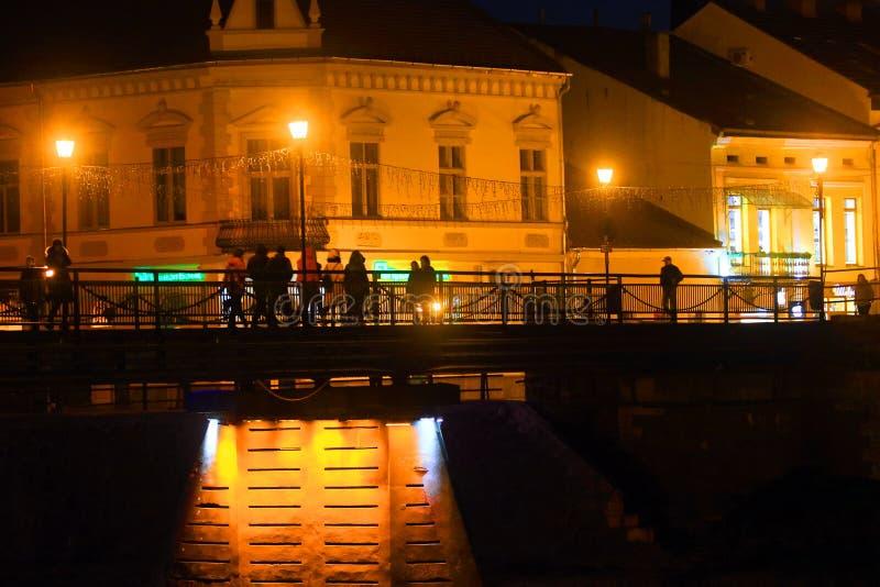 UZHGROROD DE OEKRAÏNE - NOVEMBER 17, 2018: Nachtstad stock foto