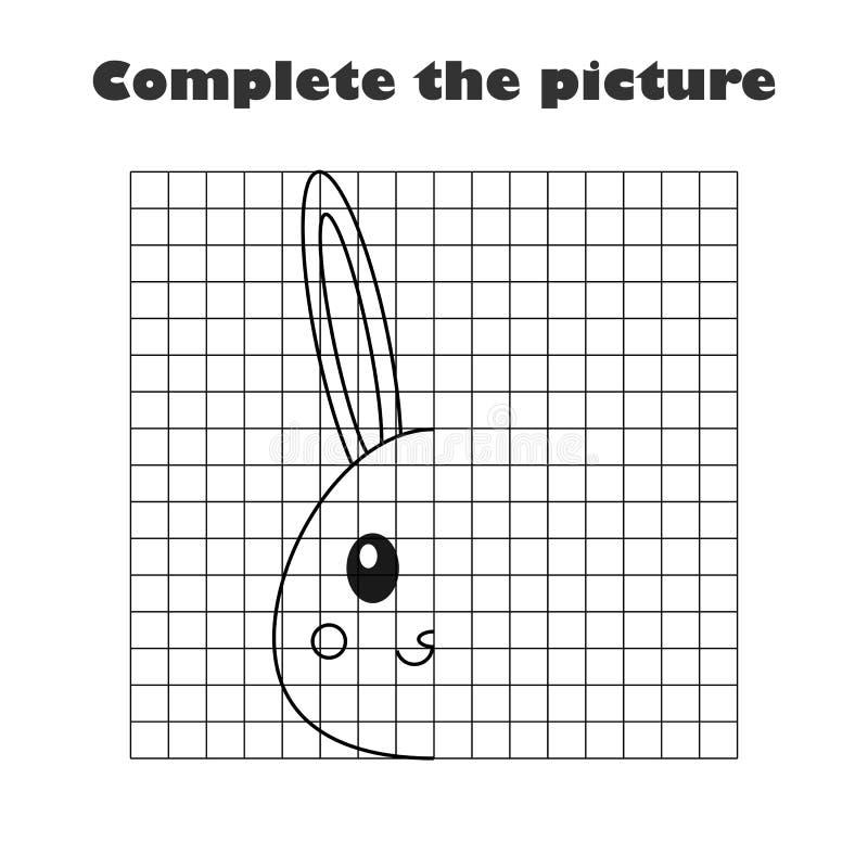 Uzupełnia obrazek, czerni kreskówki biały królik, rysunkowy umiejętności szkolenie, Easter edukacyjna gra dla rozwoju dzieci ilustracja wektor