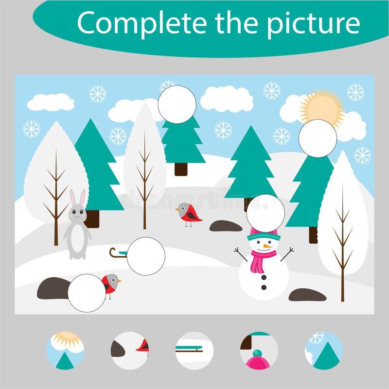 Uzupełnia łamigłówkę i znajduje brakujące części obrazek, zimy zabawy edukacji gra dla dzieci, preschool worksheet ilustracja wektor