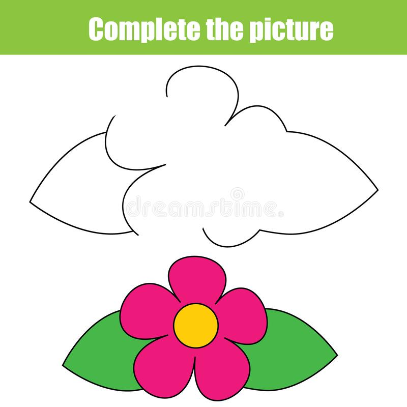Uzupełnia obrazków edukacyjnych dzieci gemowych Dzieciaki rysuje worksheet Printable aktywność dla berbeci Remisu kwiat ilustracji