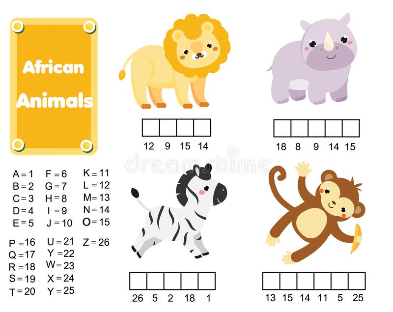 Uzupełnia słów dzieci edukacyjną grę zwierząt afrykańskich Uczenie liczby i słownictwo ilustracja wektor