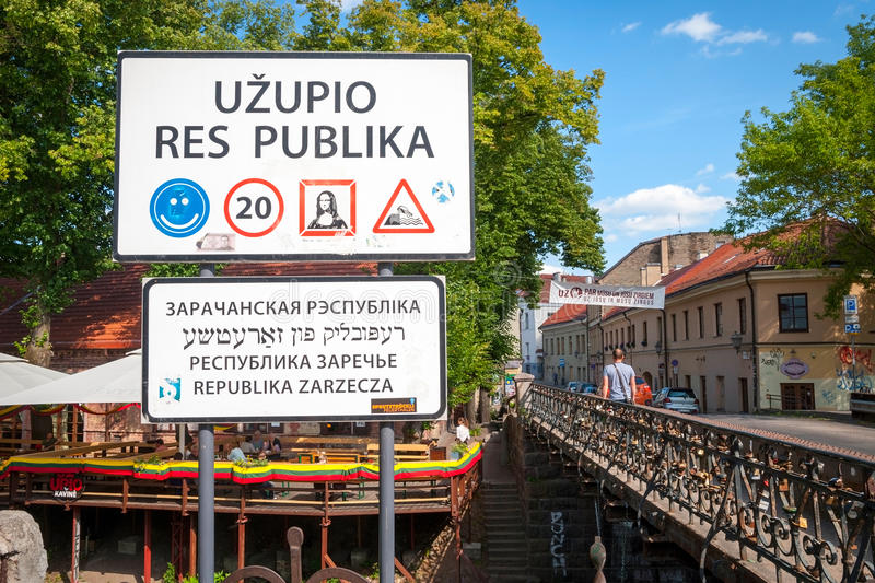 Uzupisrepubliek, autonome gemeenschap, Vilnius, Litouwen royalty-vrije stock foto's