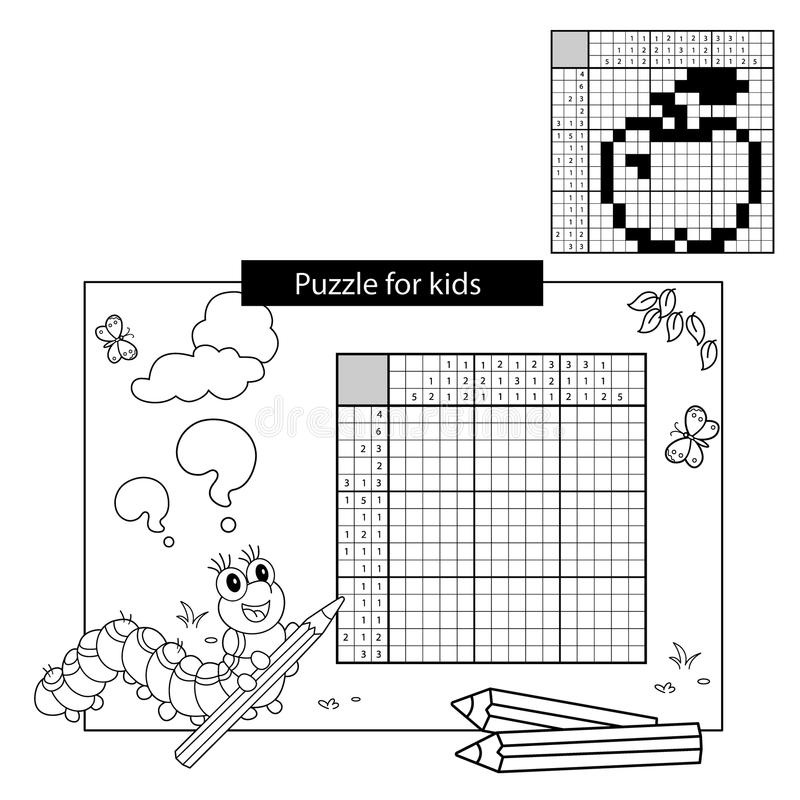 Uzzle Game for school Children. Apple. Black and white japanese crossword with answer. Coloring book for kids. Cartoon Vector Illustration of Education Puzzle vector illustration
