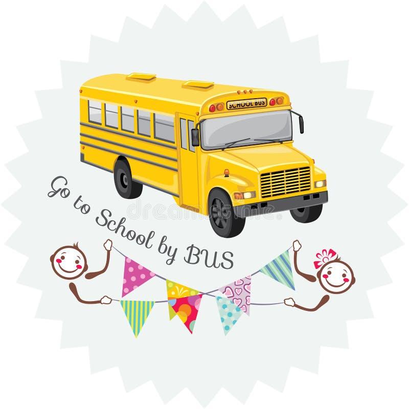 Vá à escola pelo ônibus etiqueta ilustração do vetor