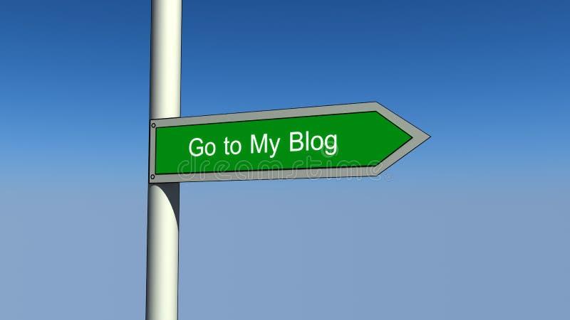 Vá a meu sinal do blogue ilustração stock